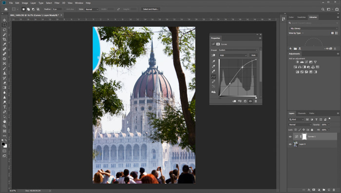 A screenshot of editing a photo with Photoshop - Skylum's Luminar review