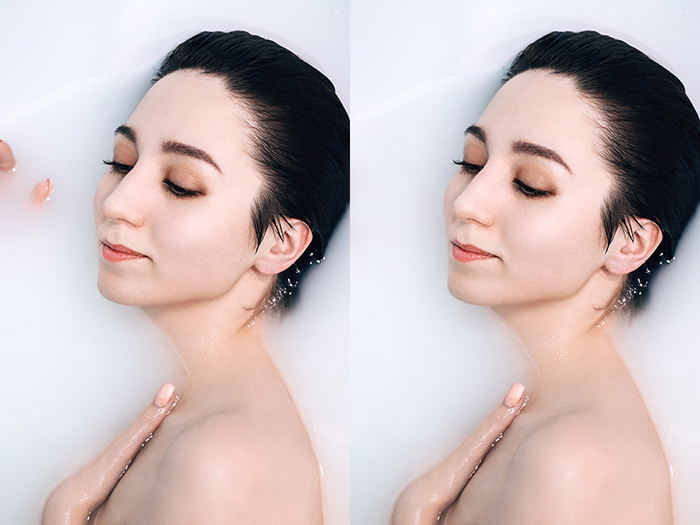 A milk bath photography diptych showing before and after editing a photo of a female model