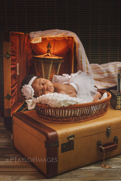 a newborn posed on the top of a suitcase among other newborn photography props