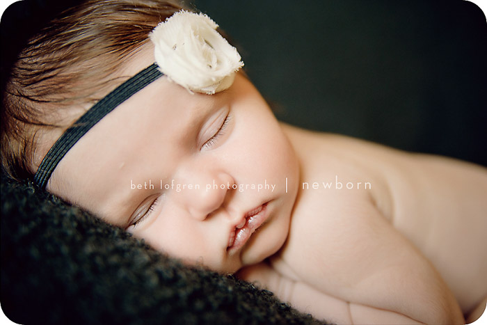 close up newborn portrait of a baby wearing a headband