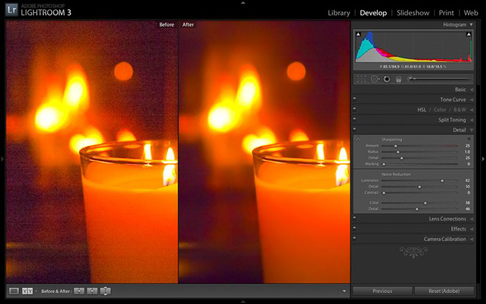Screenshot of using Adobe Lightroom for noise reduction software
