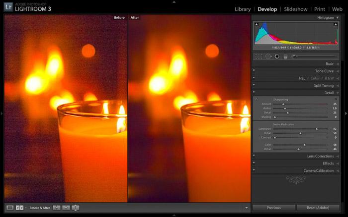 Screenshot of using Adobe Lightroom for noise reduction software