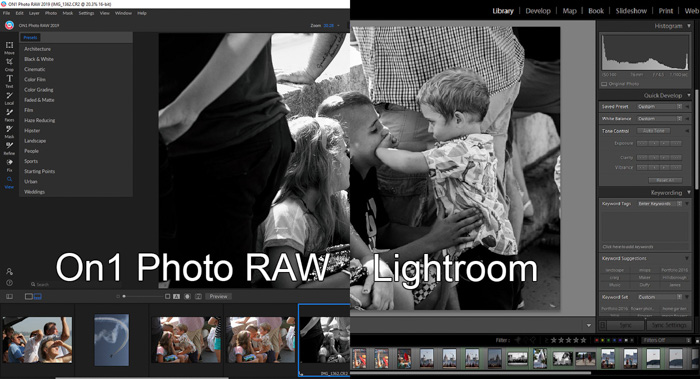A screenshot of a split-screen showing On1 Photo RAW interface and adobe lightroom