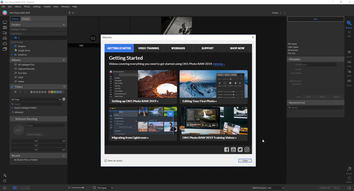 A screenshot of On1 Photo RAW 19 interface -getting started