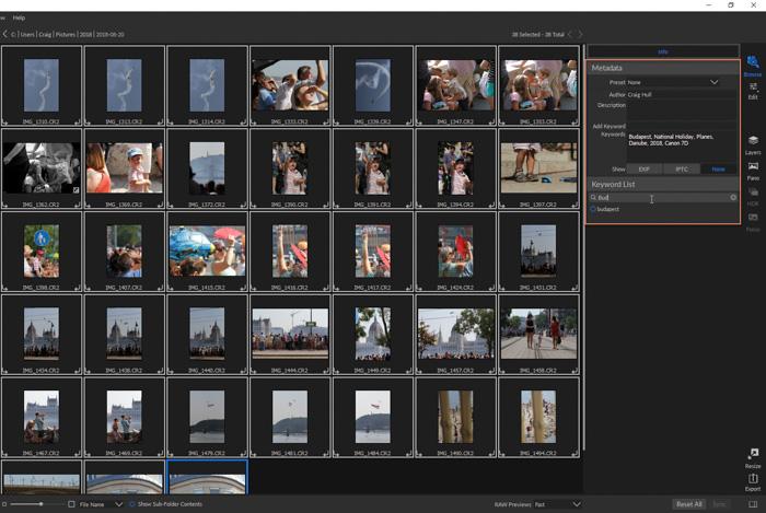 A screenshot of On1 Photo RAW interface