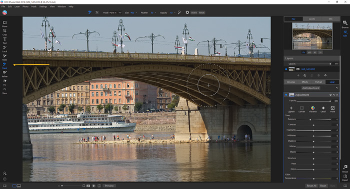 A screenshot of editing a photo in On1 Photo RAW