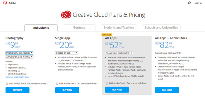 A screenshot of Creative Cloud Plans and Pricing