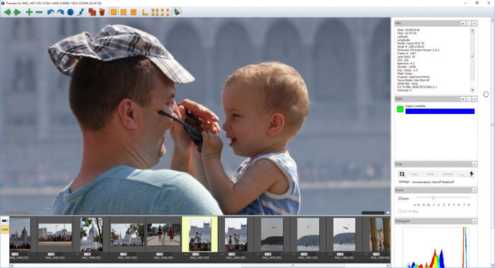 A screenshot of sorting photos with Photo Mechanic