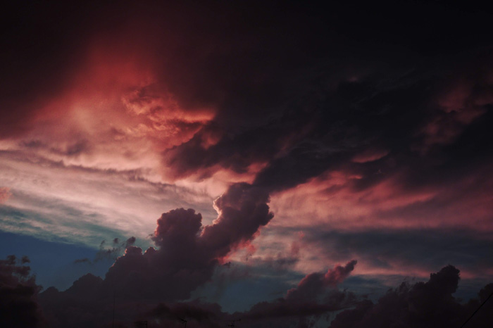 A shot of dramatically colored clouds at evening time