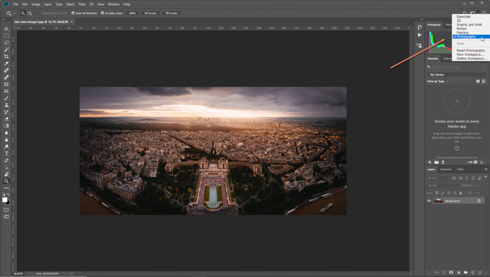 A screenshot of editing a cityscape photo on Photoshop