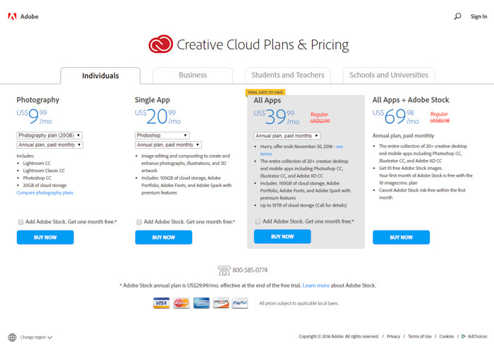 A screenshot showing creative cloud plans and pricing
