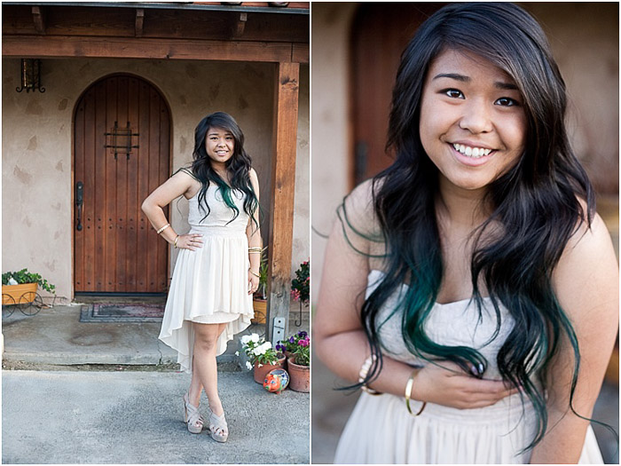 Cute prom pictures diptych of a teen posing outdoors