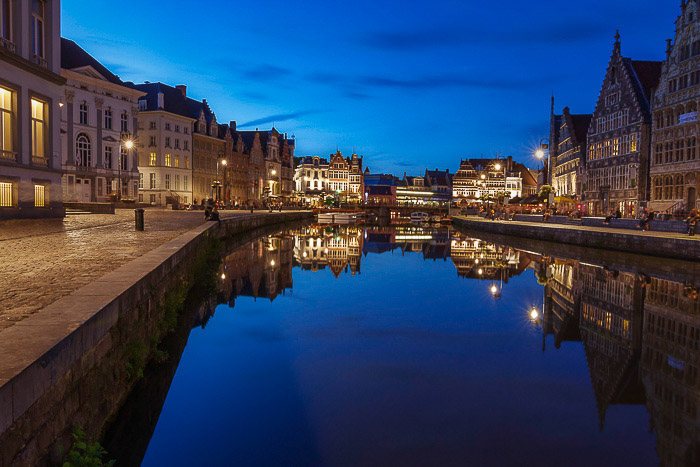 An evening cityscape in Ghent, Belgium -reflections in photography