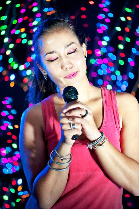 A portrait of a Pretty Asian Karaoke Singer