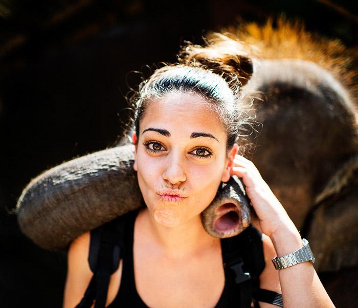 A rim light portrait of a female tourist posing with an elephant