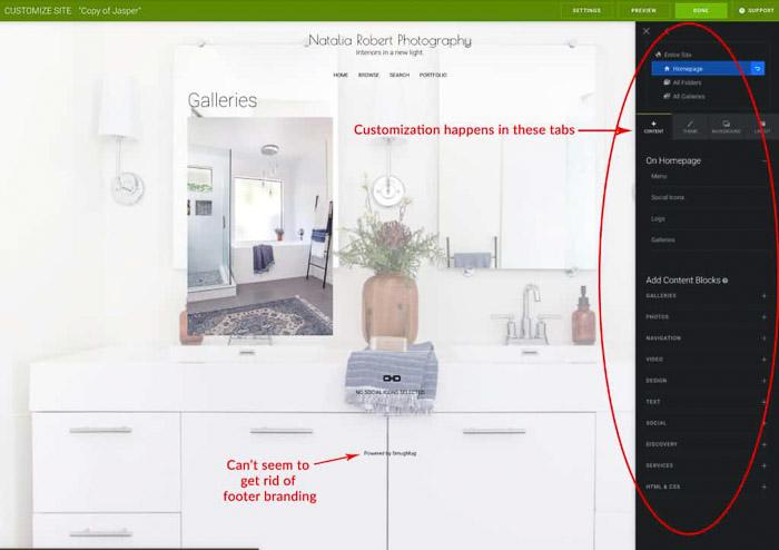 Screenshot of using smugmug