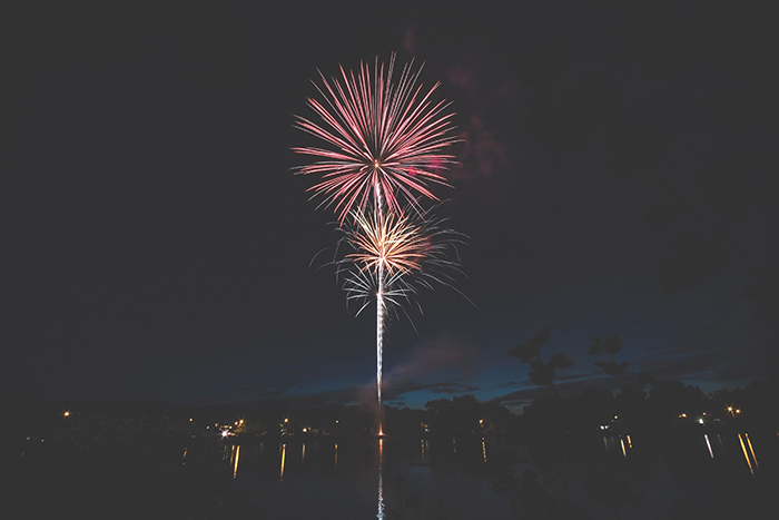 A firework display at night - symmetry in photography