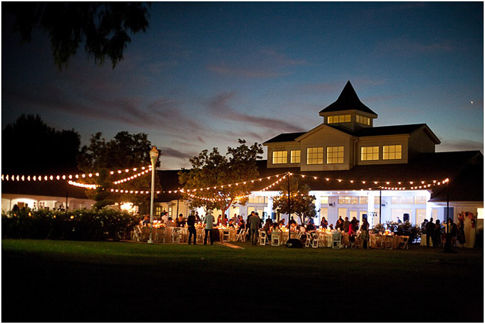 A destination wedding party at night
