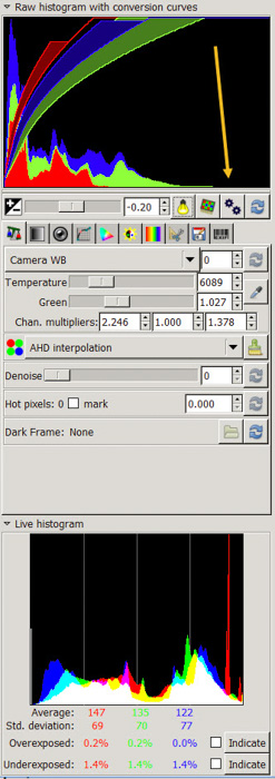 A screenshot showing how to open raw images in gimp using UFRaw