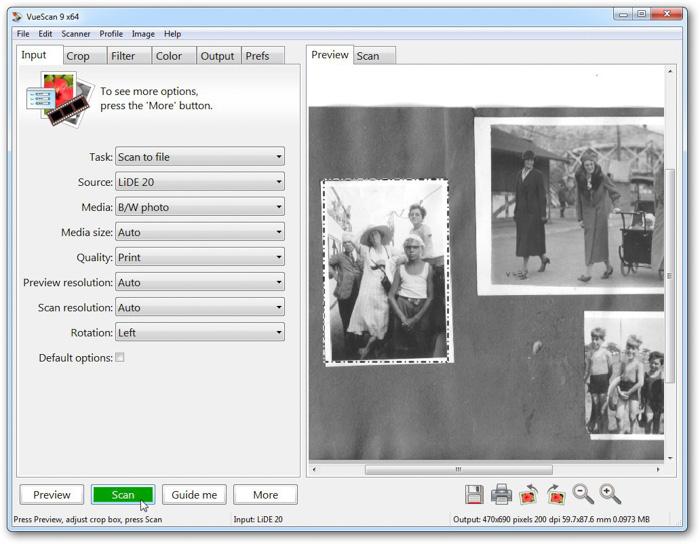 A screenshot of VueScan interface