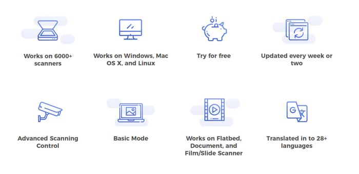 a screenshot of options on the vuescan website