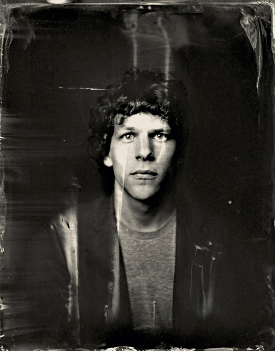A portrait of Jesse Eisenberg posing for a tintype (wet plate photography) portrait - Photo by Victoria Will