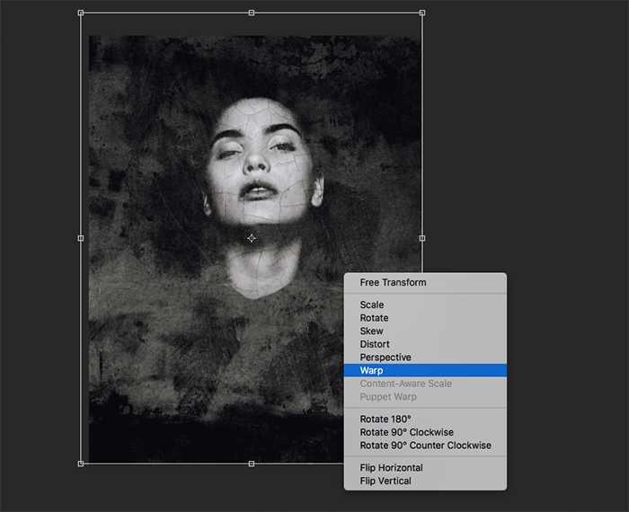 A screenshot showing how to create abstract portraits in Photoshop - warp
