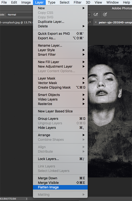 A screenshot showing how to create abstract portraits in Photoshop - layers