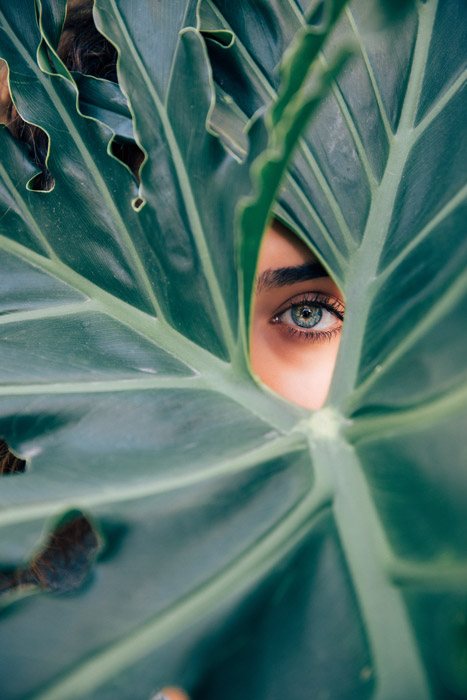 The eye of a female model looking through a gap in a large green leaf - principles of art and design in photography