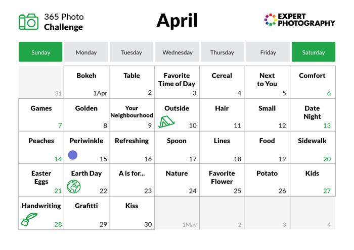 April - 365 photo challenge calendar