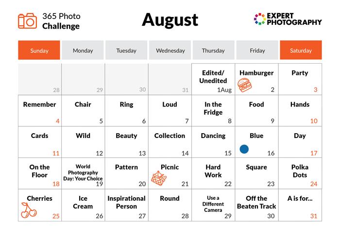 August - 365 photo challenge calendar