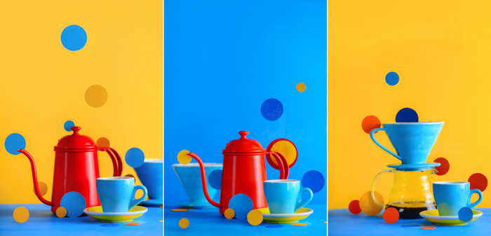 A fun kitchen utensil themed still life triptych with emphasis on contrasting colours blue and yellow