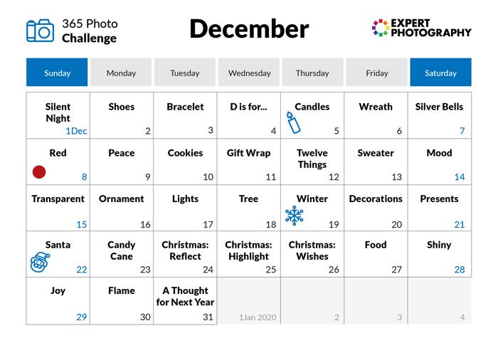 December- 365 photo challenge calendar