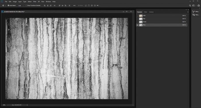 A screenshot of editing a photo of a textured grunge wall using the displacement map photoshop - Convert the Image to Black and White