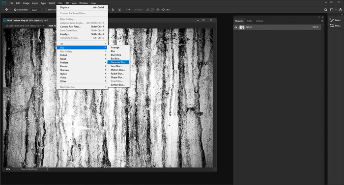 A screenshot of editing a photo of a textured grunge wall using the displacement map photoshop - add a gaussian blur