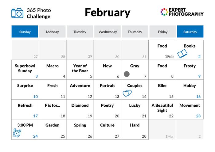 February - - 365 photo challenge calendar