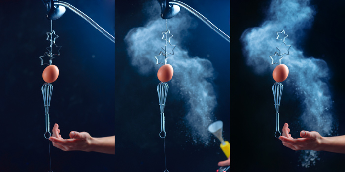 Photogrid showing the stages of shooting a creative still life using flying kitchen utensils and flour clouds