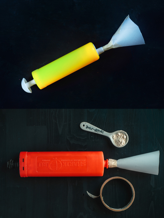 Two variations of balloon pumps used to create a still life of flour clouds - creative still life photos