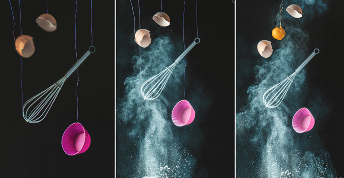 Setup for shooting a still life of flying kitchen utensils and flour clouds - creative still life photos