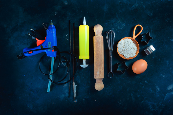 a flatlay of materials used for creative still life photos