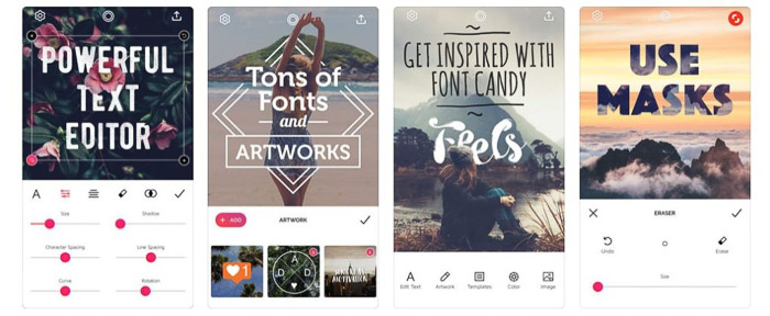 The Font Candy app homepage - apps to add text to photos