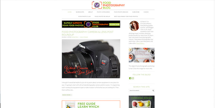 A screenshot of food photography blog homepage