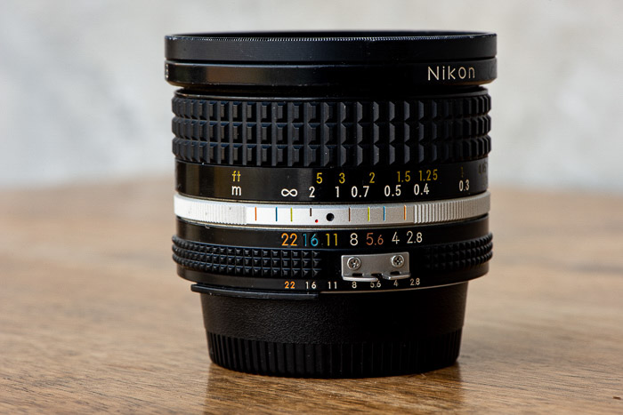 A 20mm lens on a table
