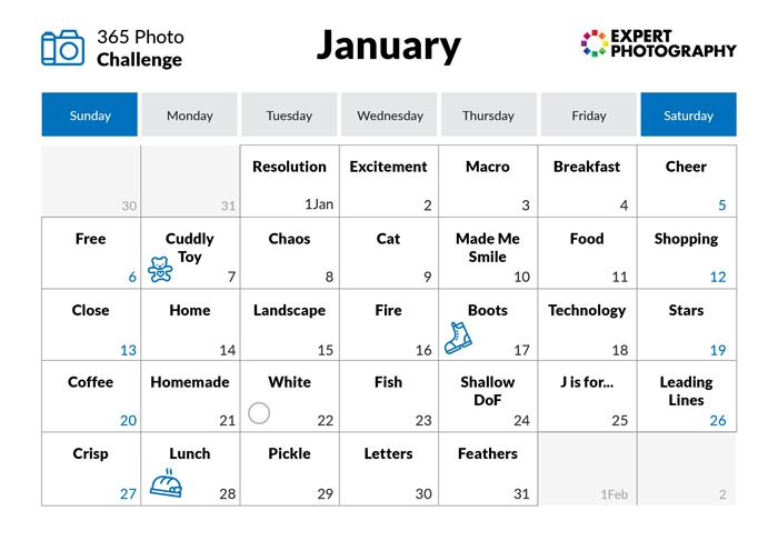 January - 365 photo challenge calendar