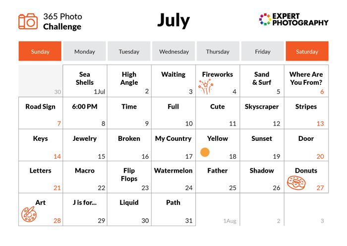 July - 365 photo challenge calendar