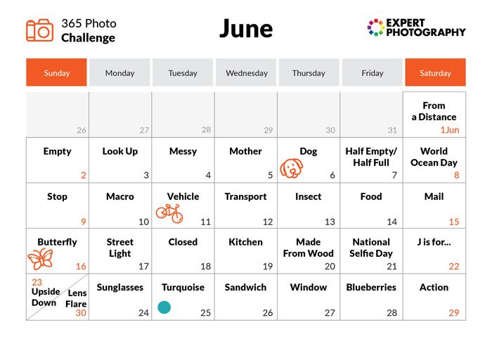 June - 365 photo challenge calendar