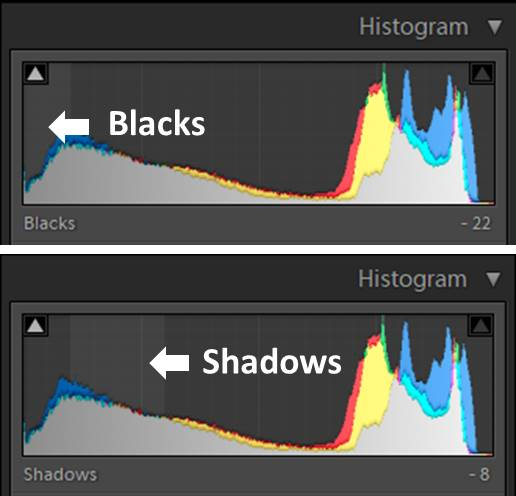 A screenshot of the lightroom histogram - using shadows and blacks in lightroom