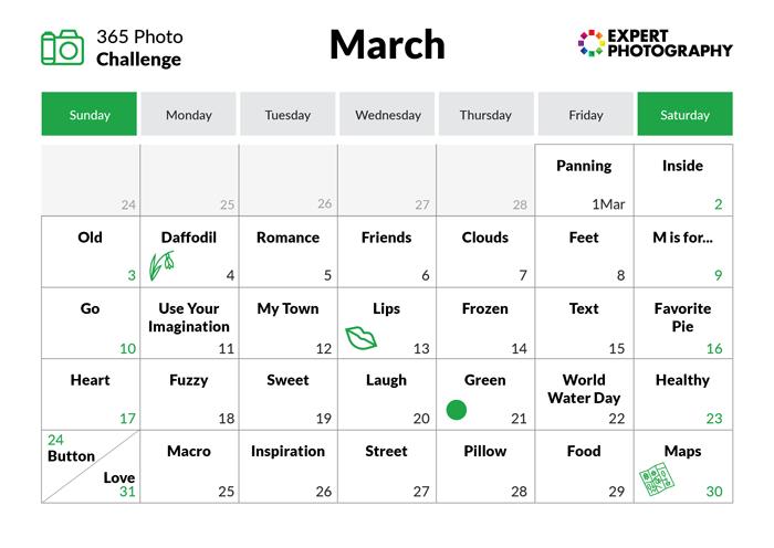 March - 365 photo challenge calendar