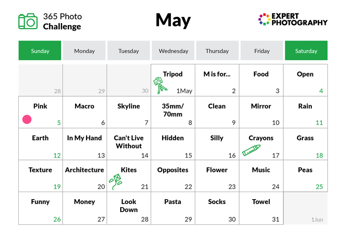 May - 365 photo challenge calendar