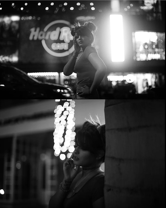An atmospheric black and white night portrait photography diptych of a female model